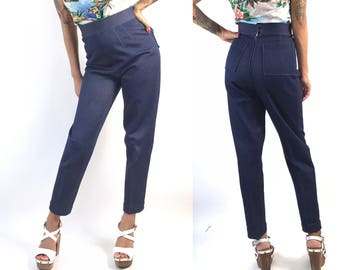 High Waisted Stretch Denim Cropped Pant  // Vintage 1950s 1960s Capris // Pin Up // Jeans