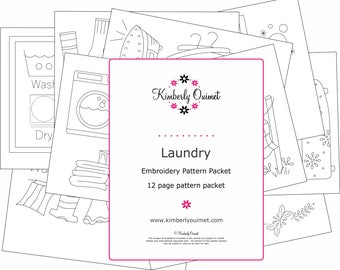Laundry Room Embroidery Design Laundry Hand Embroidery Pattern Laundry Room Decor Clothes Line Design