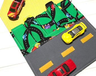 Road Car Wallet, Toy car holder, Washable toy, Travel toys, Car carrier, Travel wallet, Toy car roll, Toy car storage, Compact toy