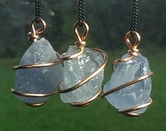 CELESTITE NECKLACE! Celestite Spiral Wrapped Copper Jewelry ! Ocean Blue Madagascar Celestite AKA Celestine. Metaphysical crystal jewelry.