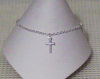 Anklet / Ankle Bracelet - Sterling Silver Cross - All Sizes - Sterling Silver