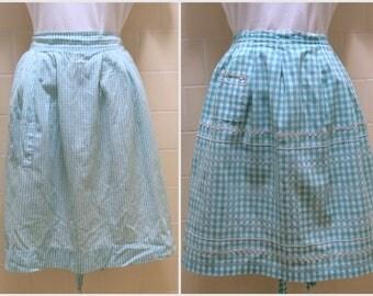 Vintage Apron Pair Green & White Gingham Checks Rick Rack Pockets