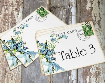 Wedding Table Cards Blue Forget Me Not Flower Postcard Large Double Sided or Single Sided Table Place Cards or Signs #97