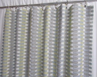 """Modern Curtains, Geometric Drapes, Graphic Curtains, Grey Taupe Window Curtains, Contemporary Decor, One Pair Rod-Pocket 50""""W"""