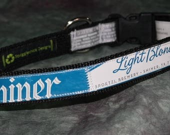Adjustable Dog Collar from Recycled Shiner Light Blonde Beer Labels