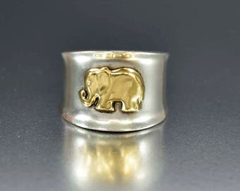 Vintage 18K Gold Elephant Ring | Sterling Silver Antimal Ring | Cigar Band Ring | Good Luck Ring | Lucky Charm Band Ring | Statement Ring