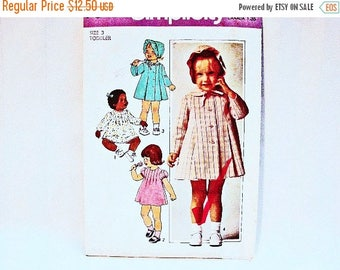 on SALE 25% Off Todder Dress Pattern size 3 Coat Pattern UNCUT Toddler Girls Dress Pattern Coat and Hat Vintage Sewing Pattern 1970s