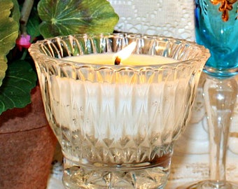 Vintage Pressed Glass Condiment Bowl Soy Wax Candle,YOUR SCENT CHOICE,Homemade,Hand Poured,House Warming Gift,Hostess Gift,Birthday,Bridal