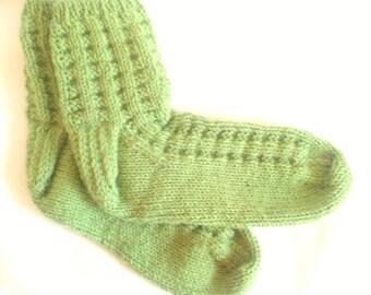 Spring Green Womens Casual Socks. Light Grass Green. Leaf Green. Knit Slipper Socks. Bed Socks. Gifts for Her. Women's Socks. Womens Socks.