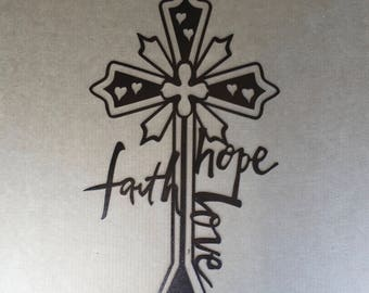 Beautiful Religious Cross with the Words Faith Hope and Love