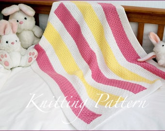 Liliwen Baby Blanket - Knitting Pattern - Colourful cotton blanket - Instant Download