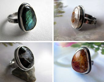 Pick a Gemstone Sterling Silver Ring, Custom Made Ring, Select a Stone, Made to Order Ring in Your Size