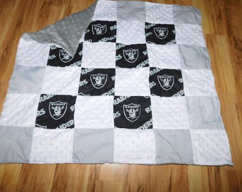 Raiders Baby Boy Girl Quilt Snuggle Blanket New Baby Coming Home New Arrival Baby Shower New Daddy Hospital Gift Football Sports