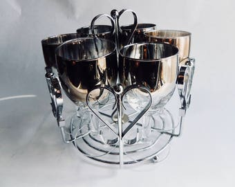 Silver Lustreware, Vintage barware, wine/port glasses, glasses in caddy, MCM barware, silver ombre drinkware, silver fade glasses, set of 6