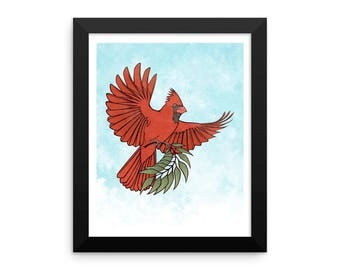 Cardinal 'Peace' framed print - Multiple Sizes - free U.S. Shipping