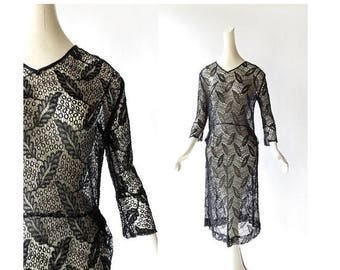 20% off sale Vintage 1920s Dress | Raven's Wing | Black Lace Dress | 20s Dress | XS