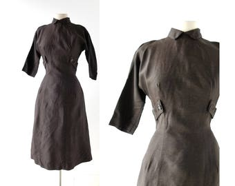 Brown 50s Dress | The Governess | 1950s Dress | XS S