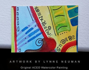 ACEO Original Hand-Painted One-of-a-Kind Abstract Mini Watercolor Signed Painting by Lynne Neuman #4359 OOAK Miniature Small Format Art ATC