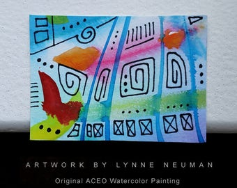 ACEO Original Hand-Painted One-of-a-Kind Abstract Mini Watercolor Signed Painting by Lynne Neuman #4362 OOAK Miniature Small Format Art ATC
