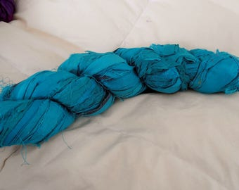 100 grams 1 skein recycled silk ribbon  knitting crochet craft embellishment yarn turquoise blue