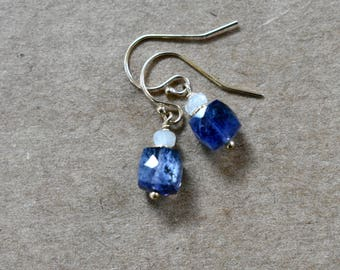 iolite gemstone earrings with sillimanite beads. 14k gold filled ear wires. faceted iolite cube gemstone.  iolite cube gemstone earrings