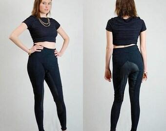 SALE 25% off sundays Black Pants Vintage Black Stretchy Knit Leather Jodphur Leggings Pants (s m)