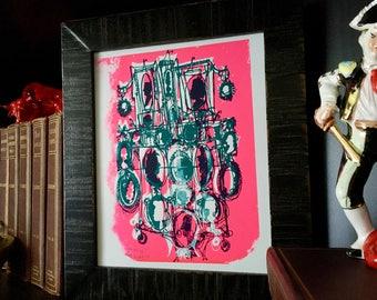 CAMEOS #113   funny silhouettes in dark green over hot pink an original handmade screenprint (8x10)