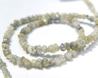 DIAMOND Gemstone. Rough Raw Diamond Nuggets, Precious Gemstone Yellow-Green Diamond Bead, Strand  Size.  (jdia)