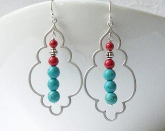 Turquoise Coral Red Dangle Earrings, Boho Jewerly
