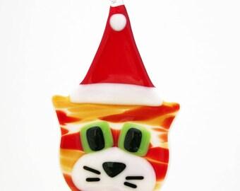 Glassworks Northwest - Orange Tabby w/ Santa Hat - Fused Glass Ornament