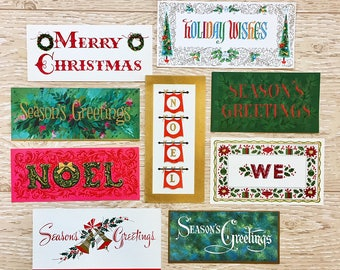 9 Vintage Words and Phrases Christmas Cards, Christmas Verses, 1940s-1960s Christmas Words Cards: Set #2