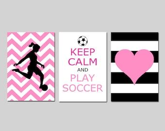 Soccer Art Girl Room Decor Soccer Wall Art Soccer Decor Girl Soccer Set of 3 - Love, Heart, Keep Calm and Play Soccer - CHOOSE YOUR COLORS