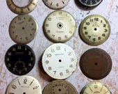 Vintage WATCH PARTS (12) Ladies Men's Steampunk Jewelry Supply- Watch Faces Movements- Gears- Clock Parts- C14