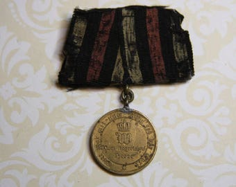 German Bronze Medal with Cross 1870's Franco Prussian War- Campaign Medal Combat Service Medal- Germany