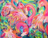 Pink Flamingo art, Flock of Birds, Flamingo art, Flamingo Party, Bird art, Pink Flamingo,  Marias Ideas Art