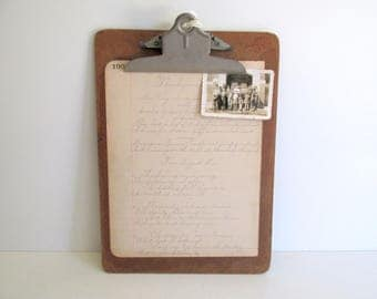 Vintage Wood Clipboard Office Decor Message Center Art Display