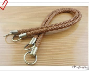 25 inch PU leather handles a pair  brown AB55