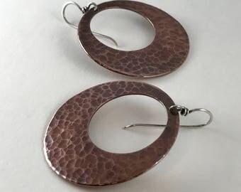 Copper Jewelry Wire Wrap Earrings Handmade Copper Earrings Metal Jewelry Rustic Metal Jewelry Boho Jewelry Hoop Earrings Ethnic Earrings