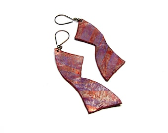 ON SALE Leather Earrings Copper Earrings Hand painted Earrings Long Earrings Large Earrings Top Selling Jewelry Geometric Earrings