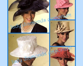 Butterick B5004 Womens Lined Hats in 5 Styles size S M L Fascinator Elegant Evening Sunday Church OOP Millinery Sewing Pattern 5004 Uncut FF