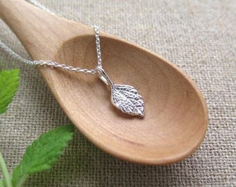 Tiny Lemon Balm Leaf Pendant Necklace - Pure Silver REAL Leaf Jewelry, Herb Jewelry, Gardeners Gift