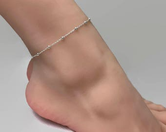 Sterling Silver Satellite Chain Anklet - Silver anklet, Ankle bracelet, Gift for her, Bridesmaid gift
