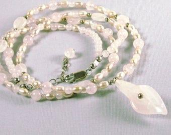 Calla Lily Necklace - Rose Quartz Necklace, Pearl Necklace, Wedding Necklace, Bride Necklace