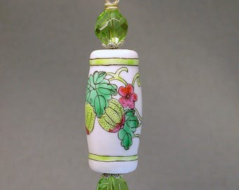 Vintage Chinese Porcelain Bead Fan Light Pull Pink Flower White , Green Crystal Beads