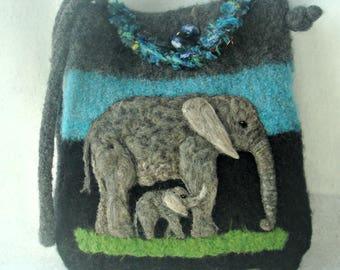 Felted Purse, Felted Handbag, Elephant Art, Needle Felt Elephant, knitted purse