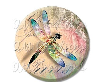 "20% OFF - Pretty Dragonfly Springtime - Pocket Mirror, Magnet or Pinback Button - Fundraiser, Events, Gifts - 2.25"" - MR224"