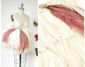 Vintage 1950s Muff - Fantastic Burlesque Muff in White and Violet Feathers c. Late 50s/Early 60s