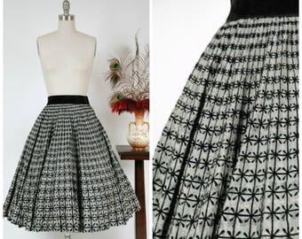 1950s Vintage Skirt  - Fabulous Flocked Silver Brocade 50s Circle Skirt with Elastic Velvet Waistband