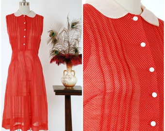 Vintage 1950s Dress - Darling Lipstick Red Swiss Dot Sheer Cotton Early 50s Day Dress with Peter Pan Collar