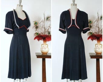 Vintage 1940s Dress - Fantastic Voluptuous Navy Blue and Gingham Day Dress with Faux Jacket and Red Trim